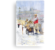 Prague Charles Bridge Organ Grinder-Seller Happiness  Canvas Print