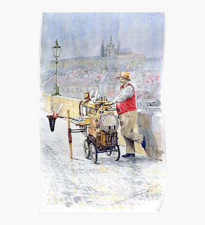 Prague Charles Bridge Organ Grinder-Seller Happiness  Poster