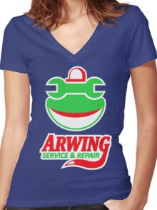 ARWING SERVICE & REPAIR Women's Fitted V-Neck T-Shirt
