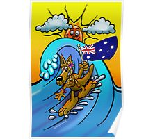 Aussie surfing kangaroo mum. Poster