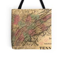 Vintage Tennessee Railroad Map (1888) Tote Bag
