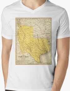 Vintage Map of Texas (1847) Mens V-Neck T-Shirt