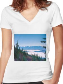 Begbie MT  Revelstoke BC Women's Fitted V-Neck T-Shirt