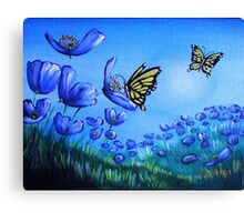 Blue Poppies in the Meadow Canvas Print