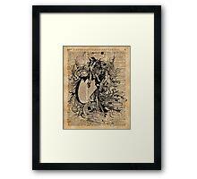 Vintage Fairies Magic Illustration Antique Ink Artwork Dictionary Book Page Art Framed Print