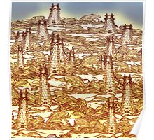 Towers in the Rock Fields Poster