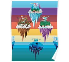Polygonal floating islands Poster