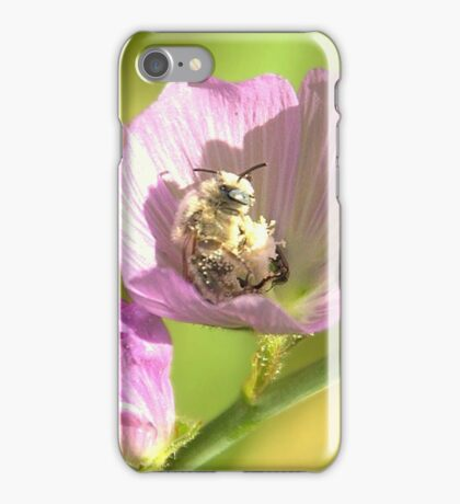 A White Bee in Pollen With A Face iPhone Case/Skin