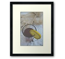 Winter Warmer Ginger Tea with Lemon Slice in the Snow Framed Print