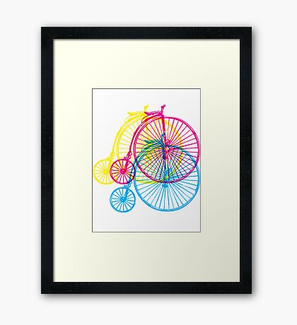 Colourful penny farthings Framed Print