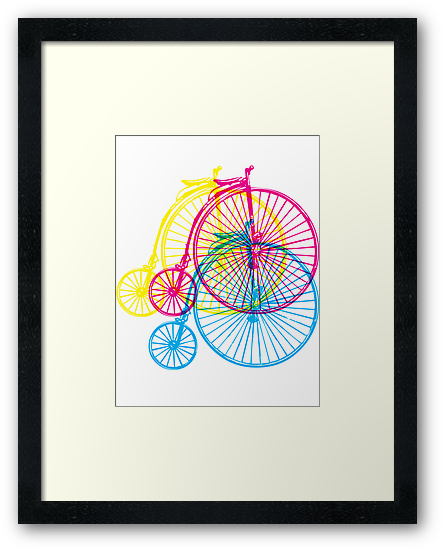 Colourful penny farthings by sledgehammer