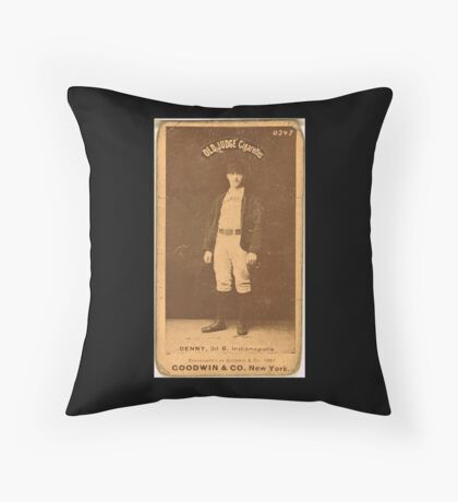 Benjamin K Edwards Collection Jerry Denny Indianapolis Hoosiers baseball card portrait 001 Throw Pillow