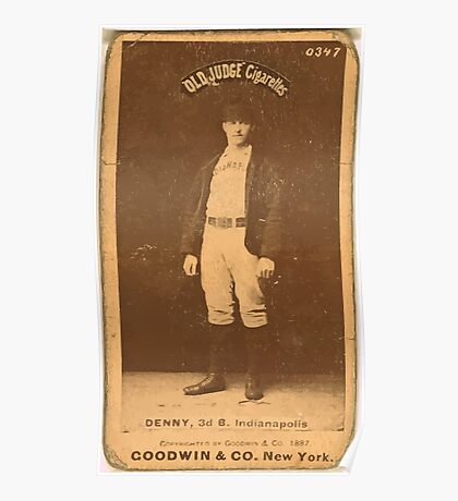 Benjamin K Edwards Collection Jerry Denny Indianapolis Hoosiers baseball card portrait 001 Poster