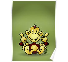 Manic Monkey with 4 thumbs up Poster