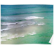 Sea with waves, Porthcurno, Cornwall, UK Poster