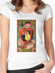Romantic Couple With Hearts & Roses (Vintage Valentine Greeting Collage) Women's Fitted Scoop T-Shirt