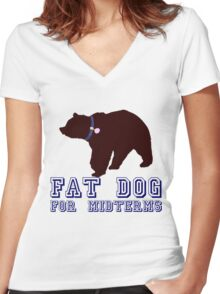 Fat Dog For Midterms Women's Fitted V-Neck T-Shirt