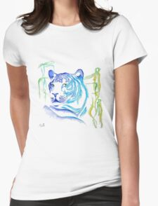 White Tiger Ink Drawing Womens Fitted T-Shirt