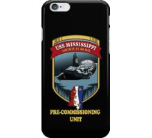 SSN-782 USS Mississippi Pre-commissioning Unit Crest for Dark Colors iPhone Case/Skin