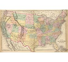 Vinage Map of The United States (1873) Photographic Print