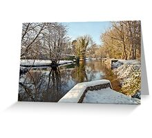 Snow on the river-bank Greeting Card