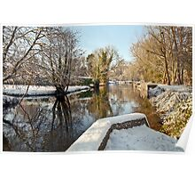Snow on the river-bank Poster