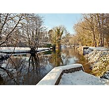 Snow on the river-bank Photographic Print