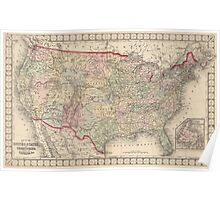 Vintage United States Map (1874) Poster