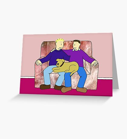 Gay anniversary, couple with dog on sofa. Greeting Card
