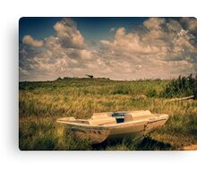 Motorboat Washed Ashore Canvas Print