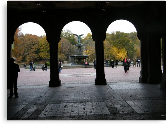 Central Park, Bethesda Fountain, Fall Colors by lenspiro