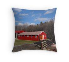 Red Barn under a Blue Sky Throw Pillow