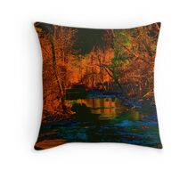 Blue Creek in Orange Throw Pillow
