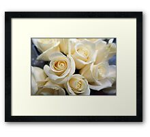 Pretty white rose flowers. Floral photography.  Love, birthday, Valentine's day, mother's day, romance Framed Print