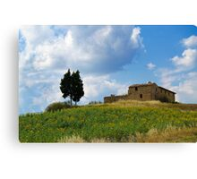 Tuscan landscape. Farmstead with sunflowers Canvas Print