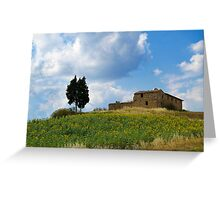 Tuscan landscape. Farmstead with sunflowers Greeting Card