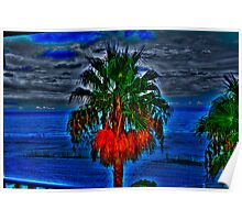 Blue Palm Tree Poster