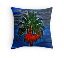Blue Palm Tree Throw Pillow
