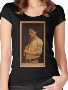 Benjamin K Edwards Collection Grover Hartley New York Giants baseball card portrait Women's Fitted Scoop T-Shirt