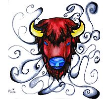 Buffalo Pen and Ink Drawing Photographic Print