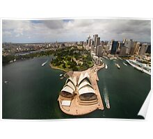 Sydney city from the air with the opera house in the foreground Poster