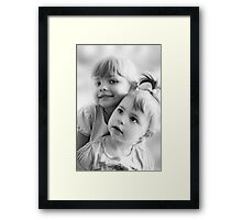 Portrait Of Two Sisters In Black And White Framed Print