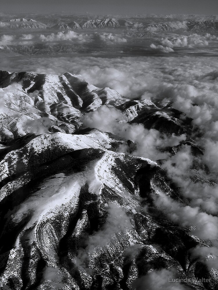 Snow Capped Mountains in Black/White by Lucinda Walter
