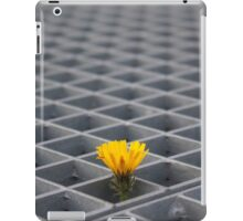 Lonely yellow flower among metal grid iPad Case/Skin