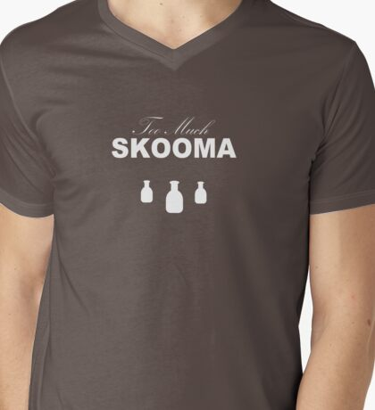 Too Much Skooma (White) Mens V-Neck T-Shirt
