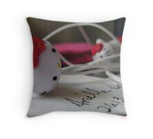 Hello Kitty headphones Throw Pillow