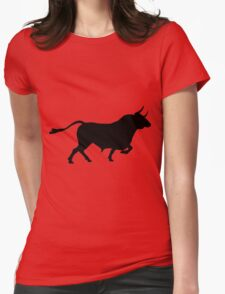 Black bull on red background Womens Fitted T-Shirt