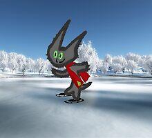 Cat IceSkating by JohnsCatzz