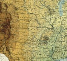 Vintage United States Physical Features Map (1915) Sticker