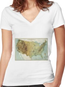 Vintage United States Physical Features Map (1915) Women's Fitted V-Neck T-Shirt